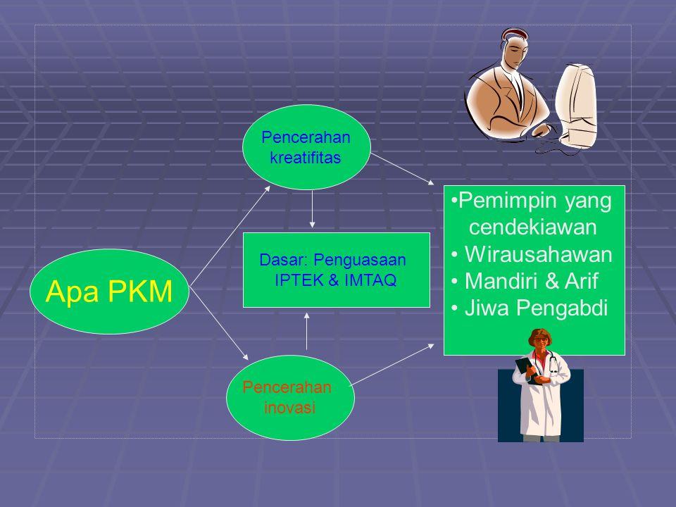 Apa PKM Pemimpin yang cendekiawan Wirausahawan Mandiri & Arif