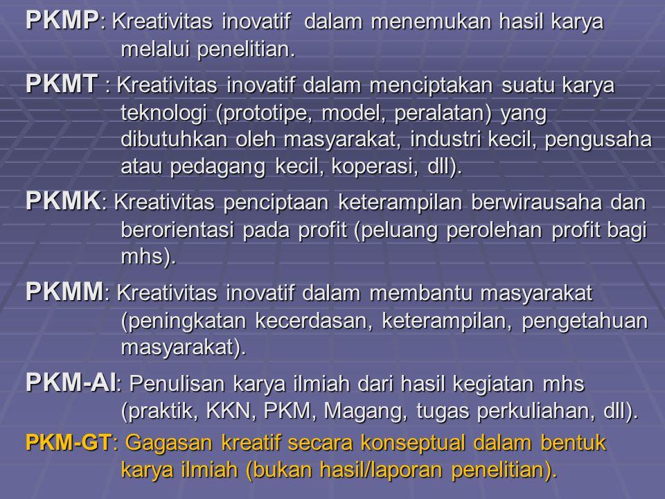 PKMP: Kreativitas inovatif dalam menemukan hasil karya melalui penelitian.