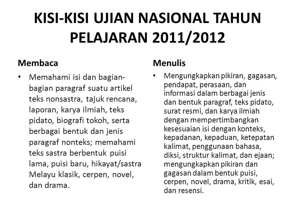 KISI-KISI UJIAN NASIONAL TAHUN PELAJARAN 2011/2012