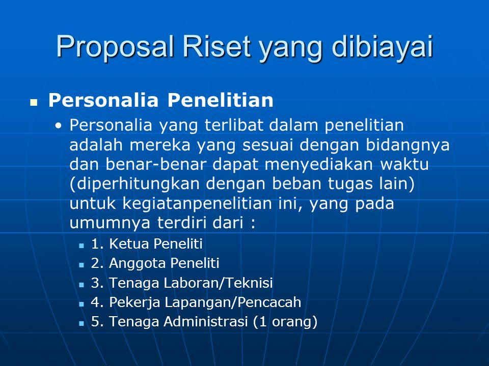 Proposal Riset yang dibiayai