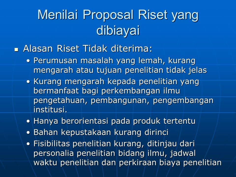 Menilai Proposal Riset yang dibiayai
