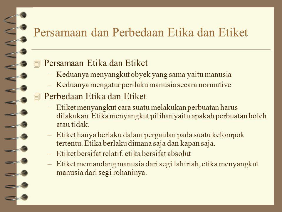 Persamaan dan Perbedaan Etika dan Etiket