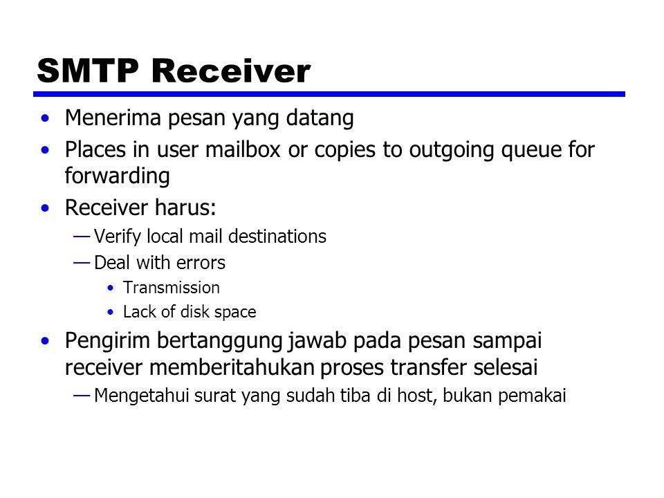 SMTP Receiver Menerima pesan yang datang