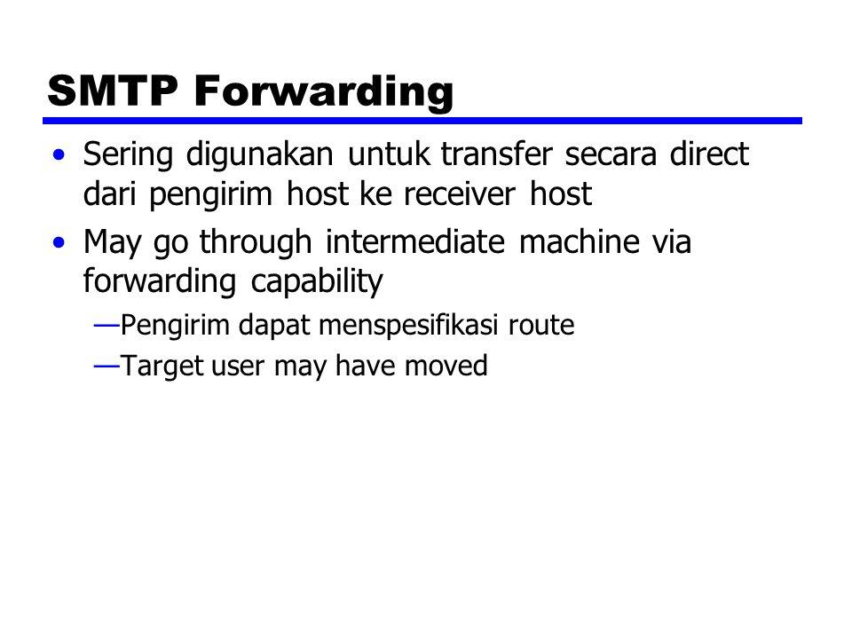 SMTP Forwarding Sering digunakan untuk transfer secara direct dari pengirim host ke receiver host.