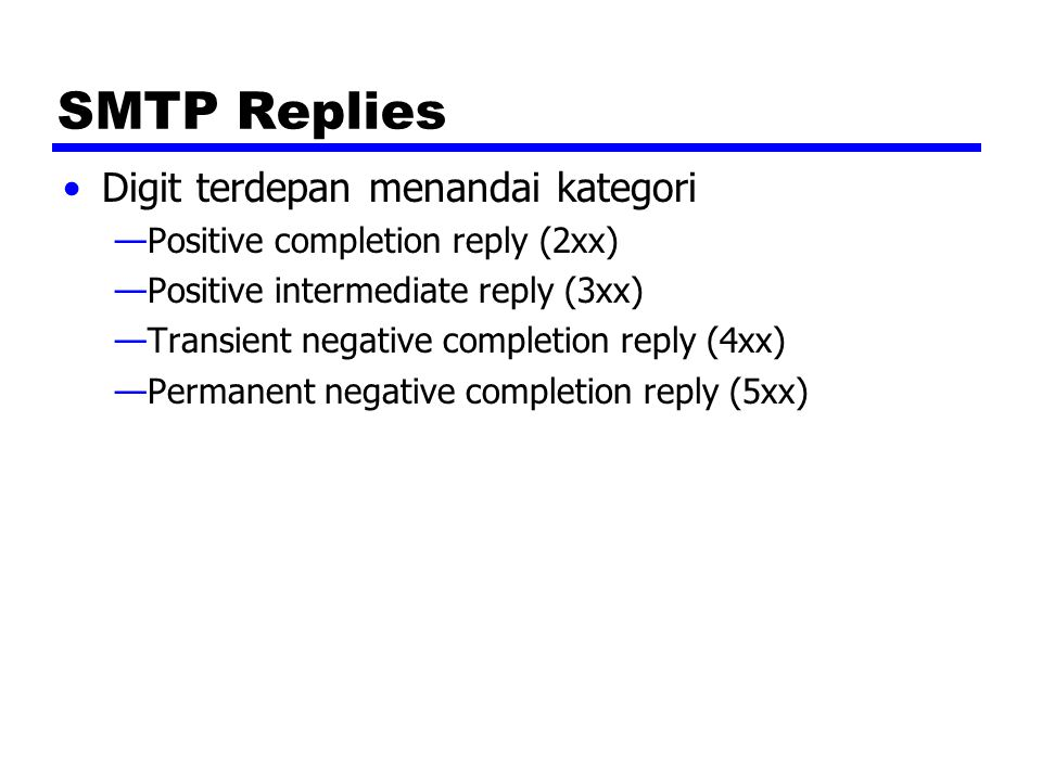SMTP Replies Digit terdepan menandai kategori
