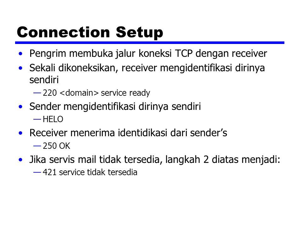 Connection Setup Pengrim membuka jalur koneksi TCP dengan receiver