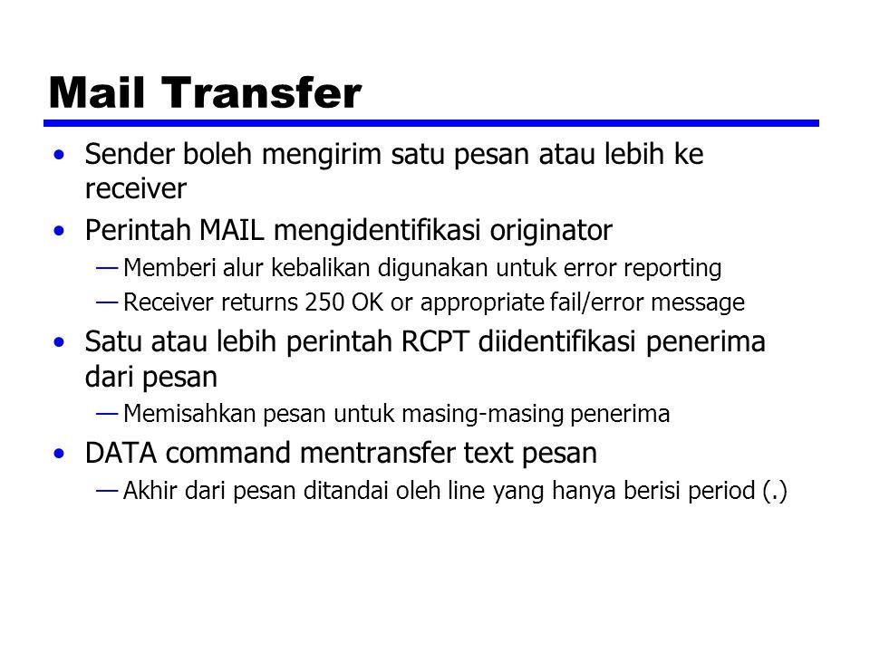 Mail Transfer Sender boleh mengirim satu pesan atau lebih ke receiver