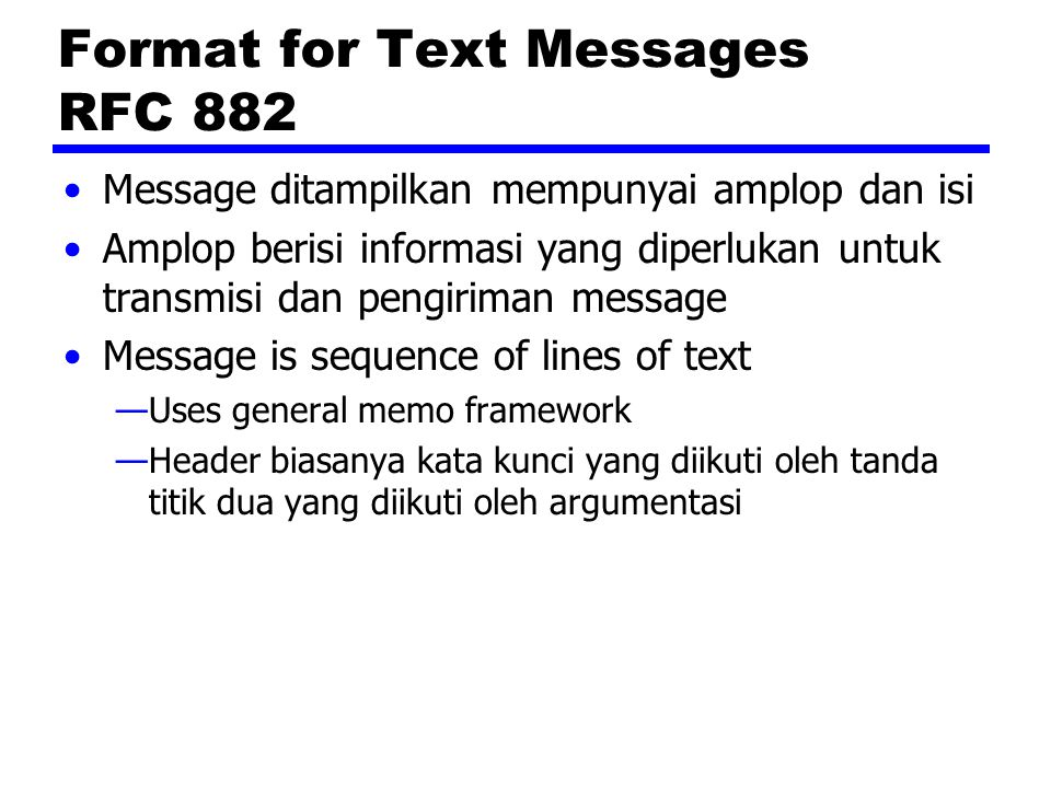 Format for Text Messages RFC 882
