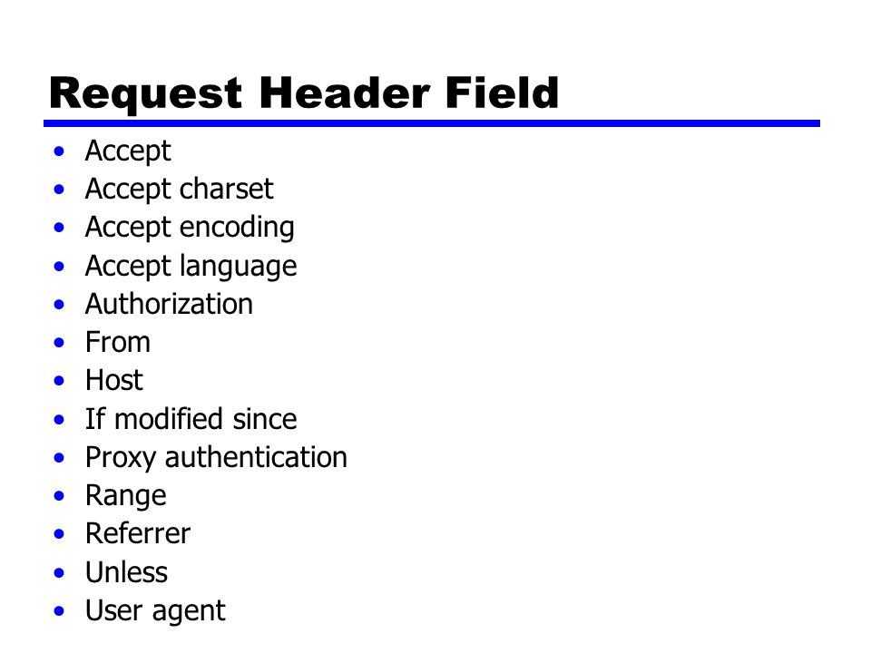Request Header Field Accept Accept charset Accept encoding