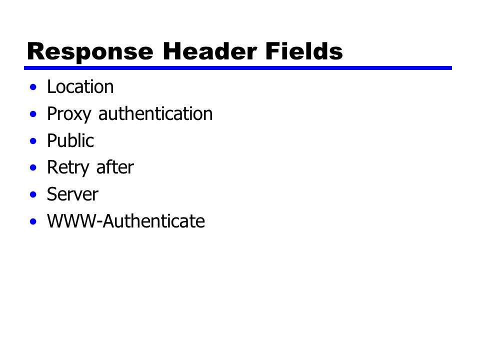 Response Header Fields