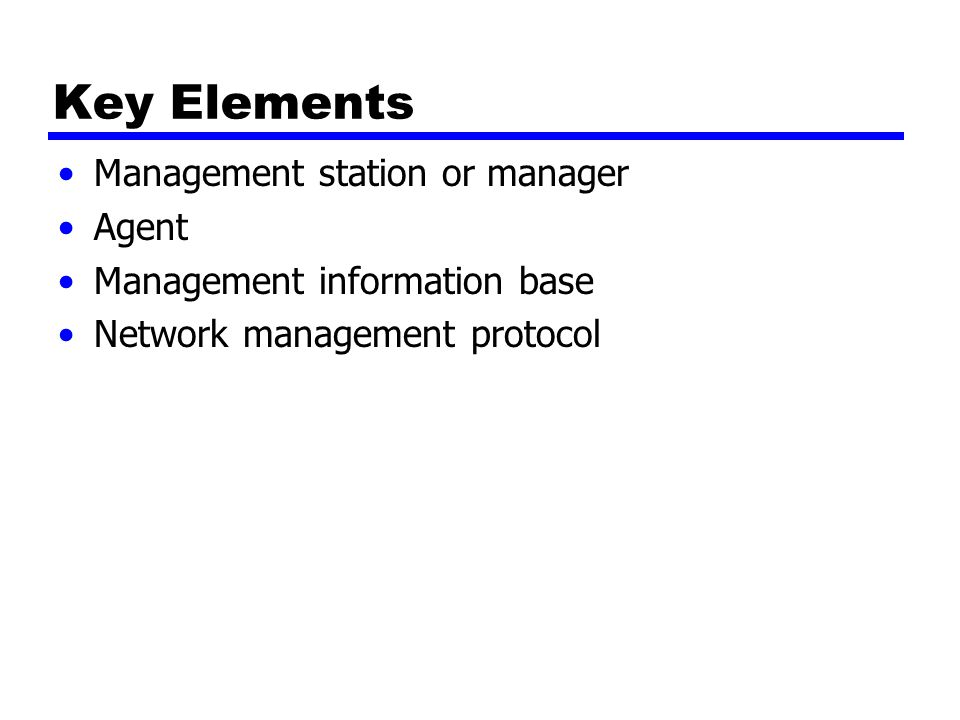 Key Elements Management station or manager Agent