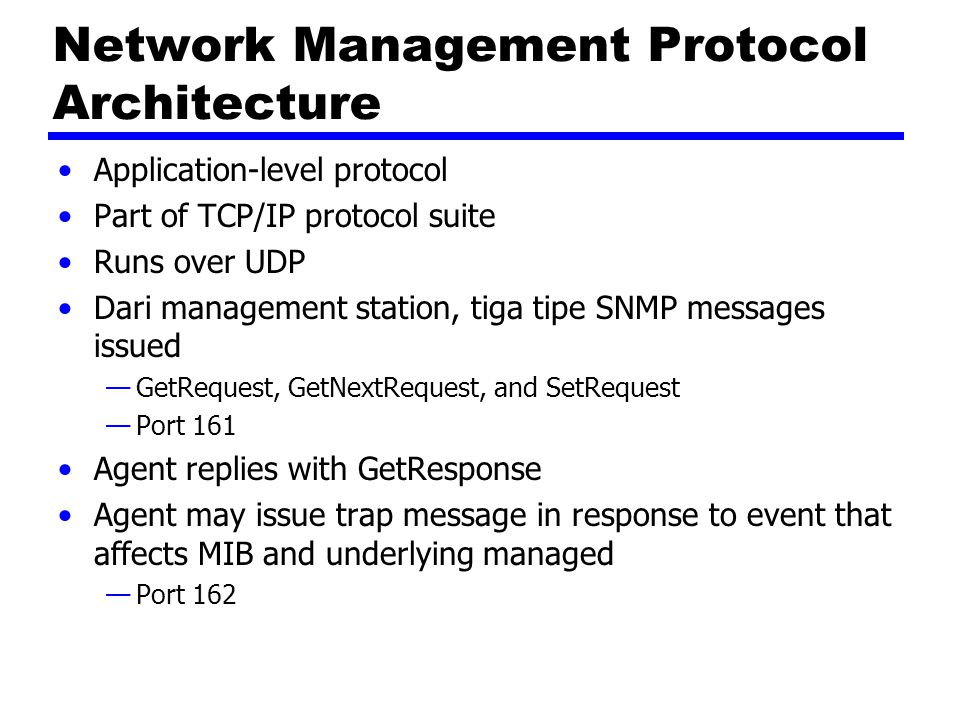 Network Management Protocol Architecture