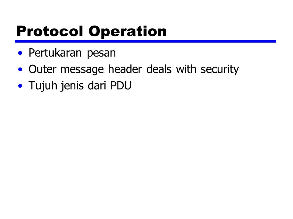 Protocol Operation Pertukaran pesan