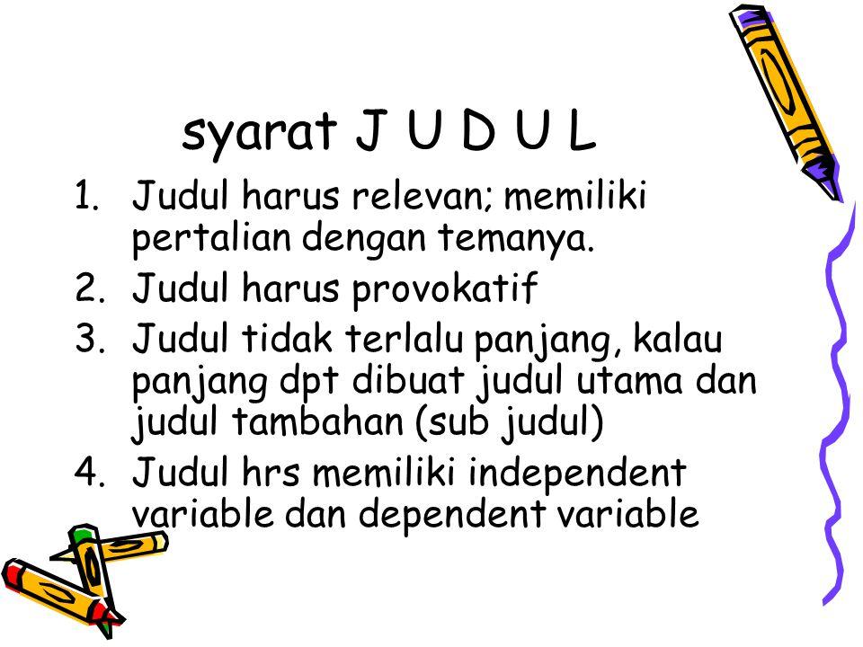 syarat J U D U L Judul harus relevan; memiliki pertalian dengan temanya. Judul harus provokatif.