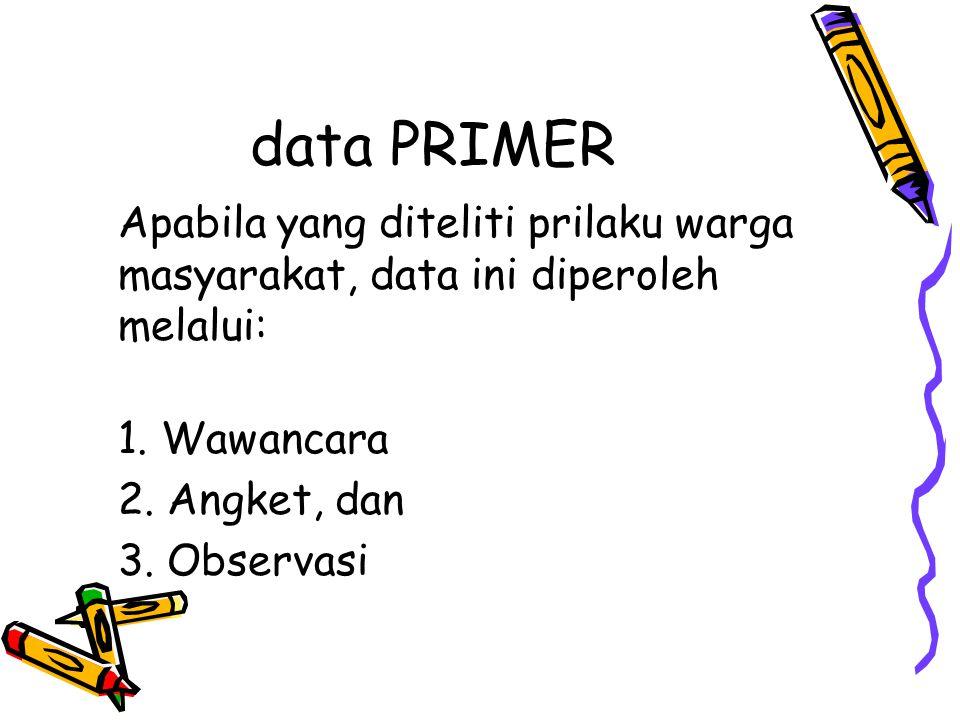 data PRIMER Apabila yang diteliti prilaku warga masyarakat, data ini diperoleh melalui: 1. Wawancara.