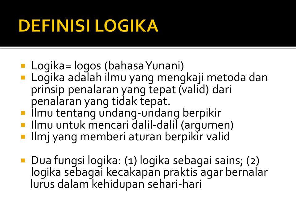 DEFINISI LOGIKA Logika= logos (bahasa Yunani)