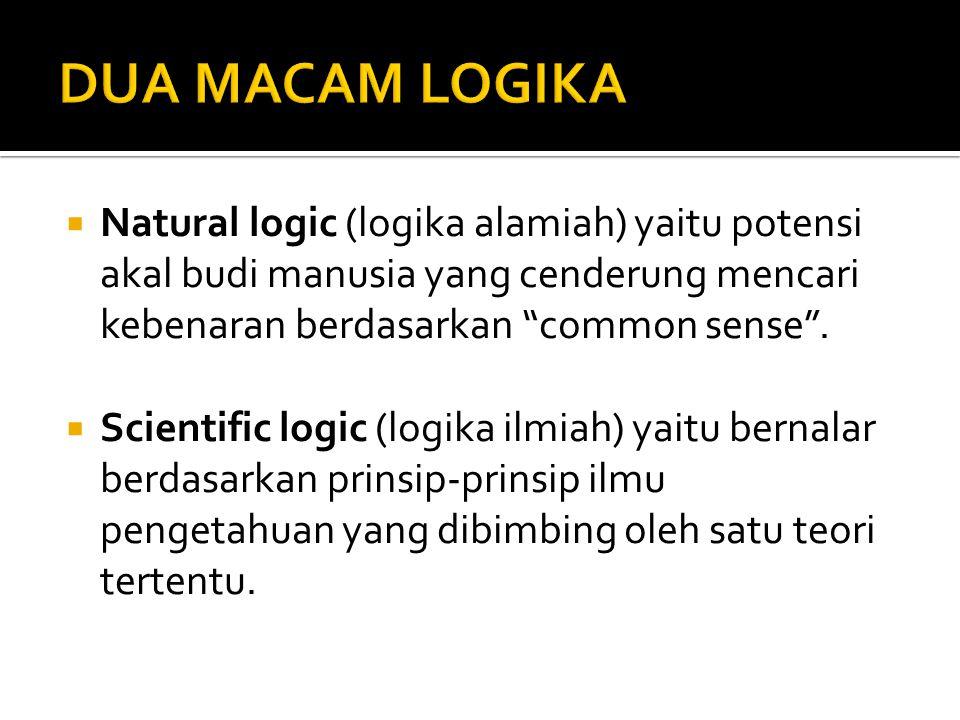 DUA MACAM LOGIKA Natural logic (logika alamiah) yaitu potensi akal budi manusia yang cenderung mencari kebenaran berdasarkan common sense .