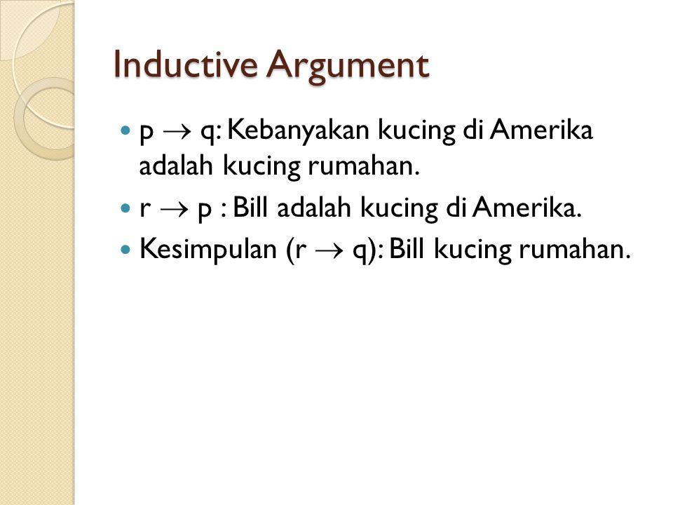 Inductive Argument p  q: Kebanyakan kucing di Amerika adalah kucing rumahan. r  p : Bill adalah kucing di Amerika.