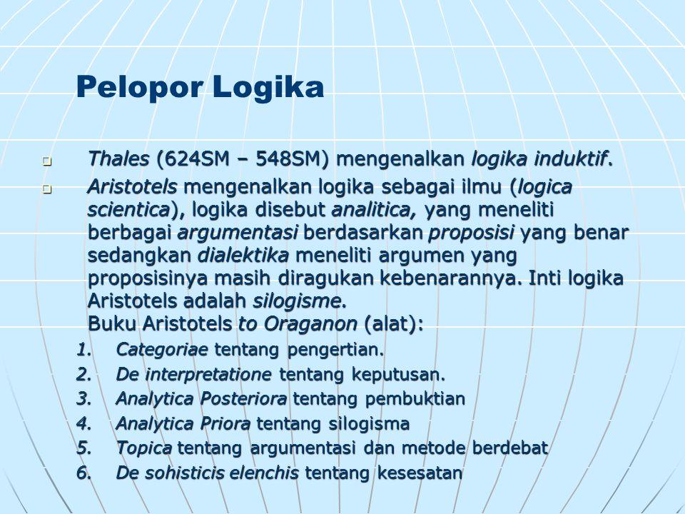 Pelopor Logika Thales (624SM – 548SM) mengenalkan logika induktif.