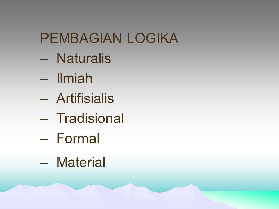 PEMBAGIAN LOGIKA Naturalis Ilmiah Artifisialis Tradisional Formal Material
