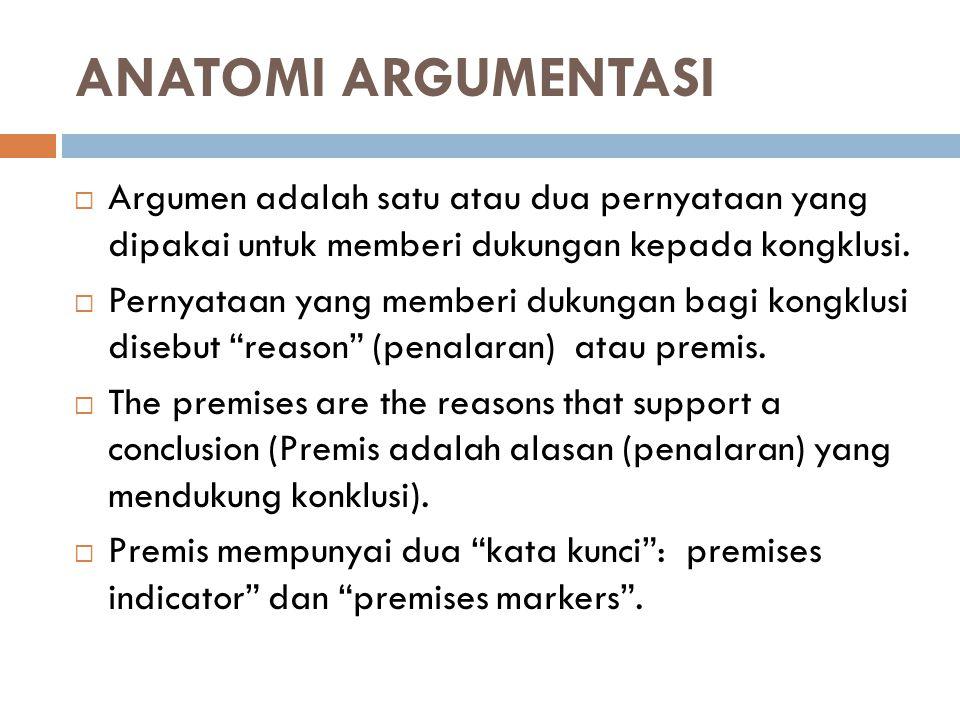ANATOMI ARGUMENTASI Argumen adalah satu atau dua pernyataan yang dipakai untuk memberi dukungan kepada kongklusi.