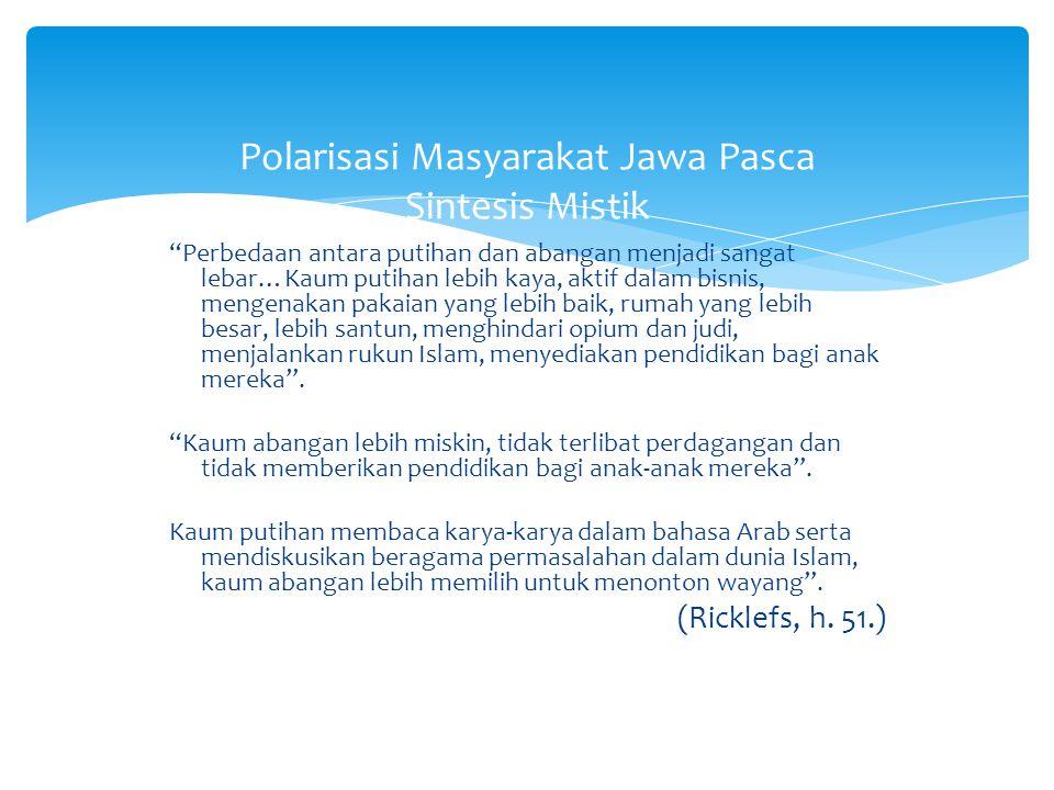 Polarisasi Masyarakat Jawa Pasca Sintesis Mistik