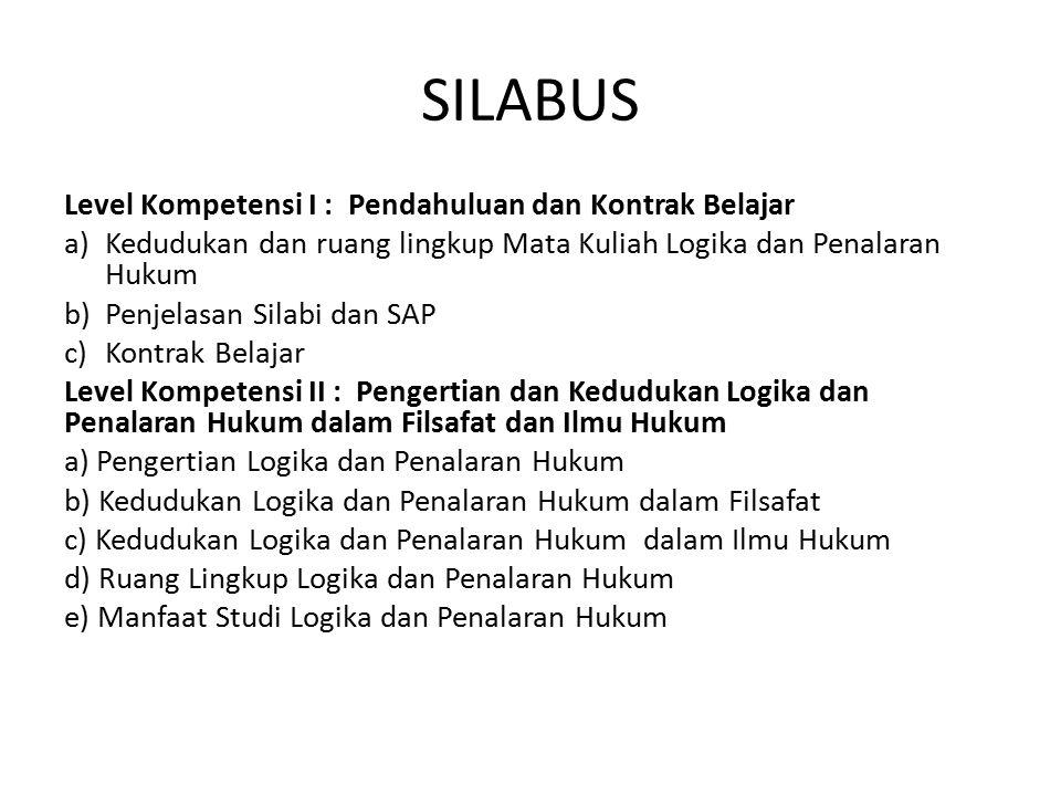 SILABUS Level Kompetensi I : Pendahuluan dan Kontrak Belajar