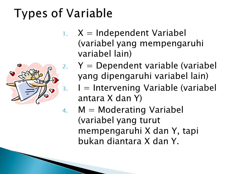 Types of Variable X = Independent Variabel (variabel yang mempengaruhi variabel lain)