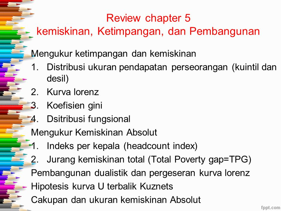 Review chapter 5 kemiskinan, Ketimpangan, dan Pembangunan