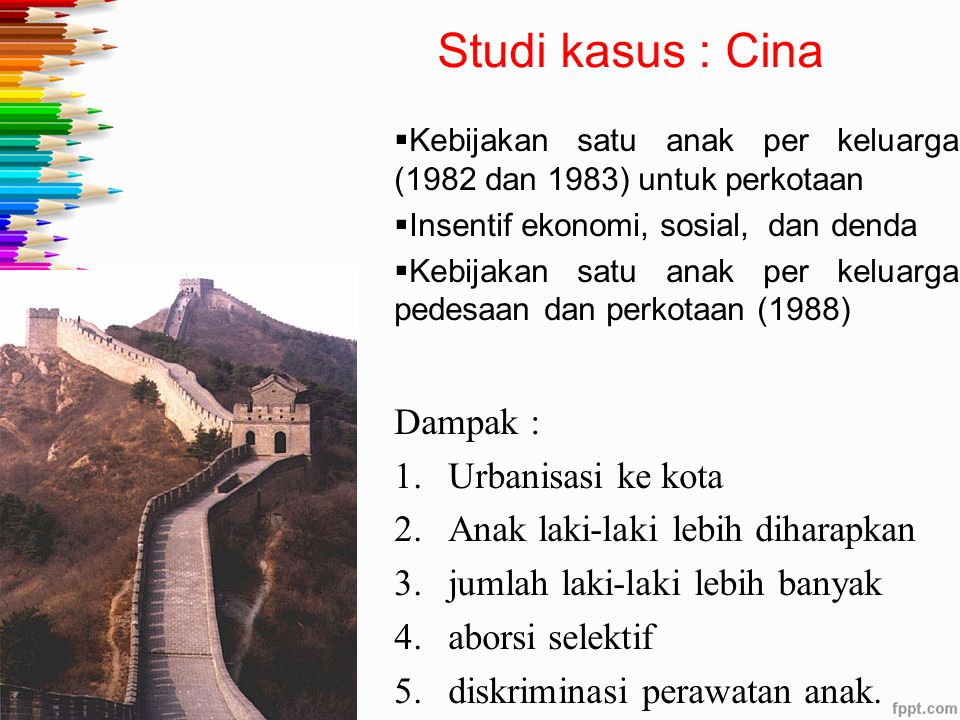 Studi kasus : Cina Dampak : Urbanisasi ke kota