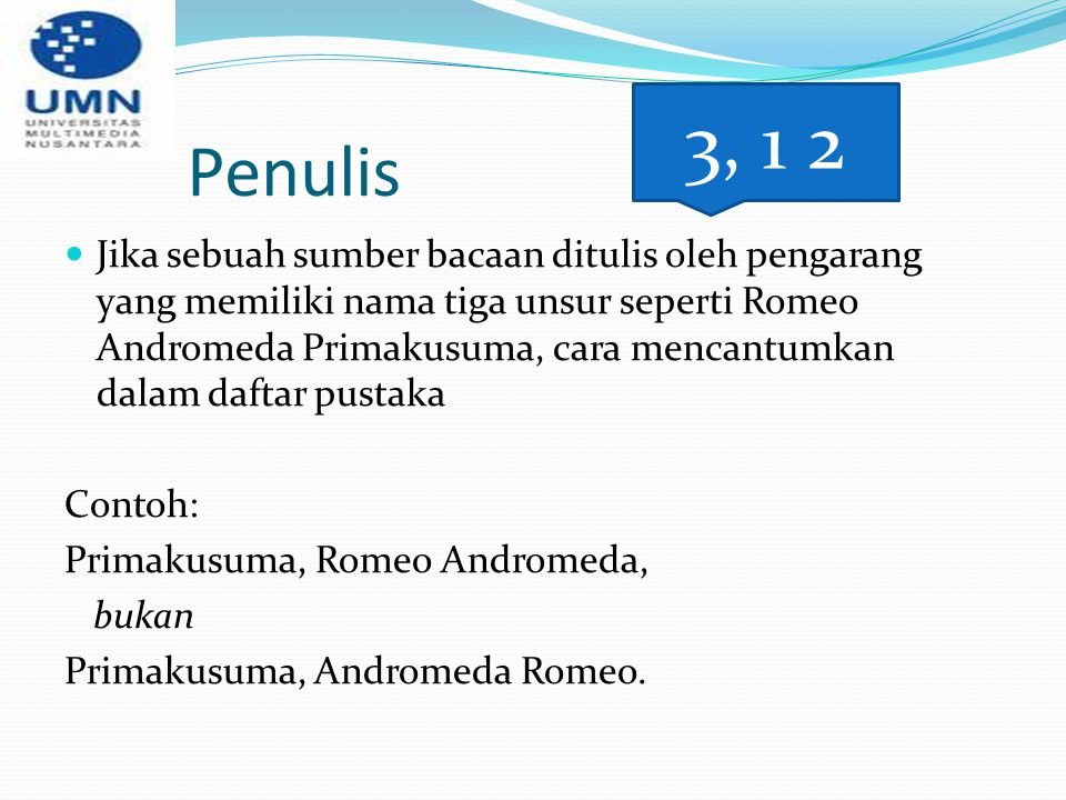 Penulis 3, 1 2.
