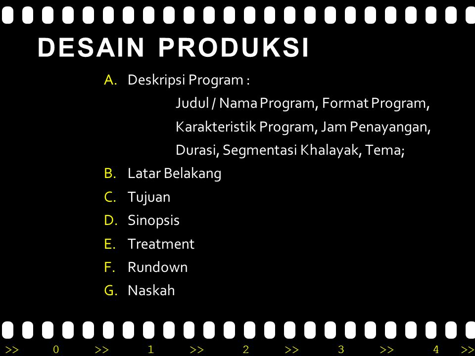 DESAIN PRODUKSI Deskripsi Program :