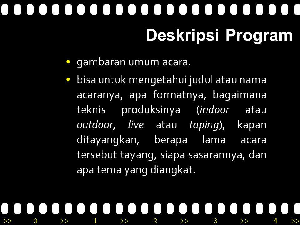 Deskripsi Program gambaran umum acara.