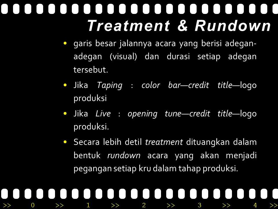 Treatment & Rundown garis besar jalannya acara yang berisi adegan-adegan (visual) dan durasi setiap adegan tersebut.
