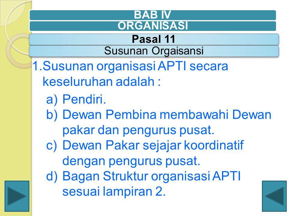 Susunan organisasi APTI secara keseluruhan adalah : Pendiri.