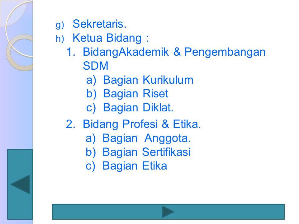 Sekretaris. Ketua Bidang : BidangAkademik & Pengembangan SDM. Bagian Kurikulum. Bagian Riset. Bagian Diklat.