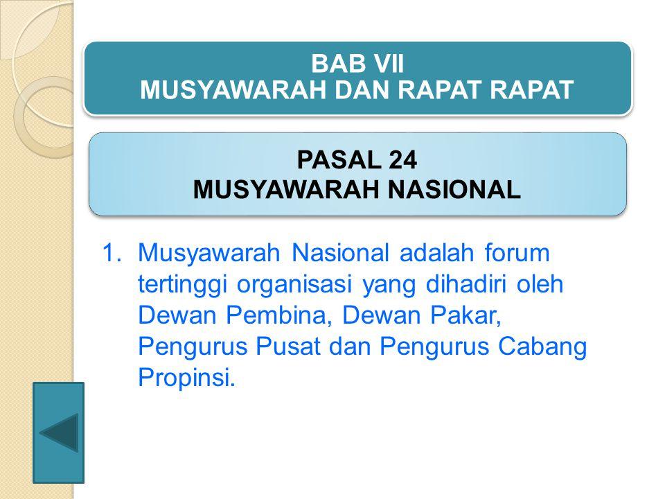 BAB VII MUSYAWARAH DAN RAPAT RAPAT