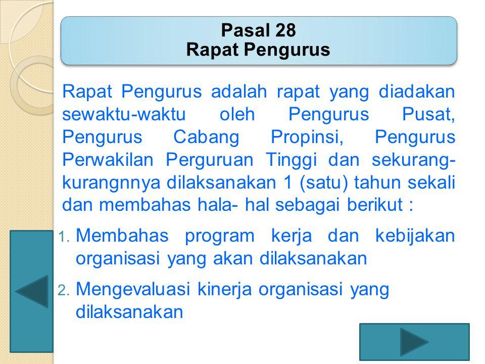 Pasal 28 Rapat Pengurus
