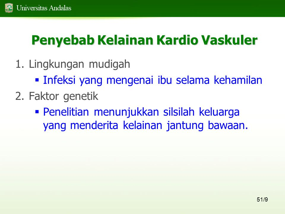 Penyebab Kelainan Kardio Vaskuler