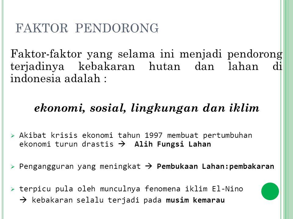 FAKTOR PENDORONG Faktor-faktor yang selama ini menjadi pendorong terjadinya kebakaran hutan dan lahan di indonesia adalah :