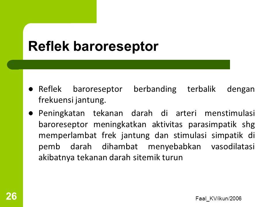 Reflek baroreseptor Reflek baroreseptor berbanding terbalik dengan frekuensi jantung.
