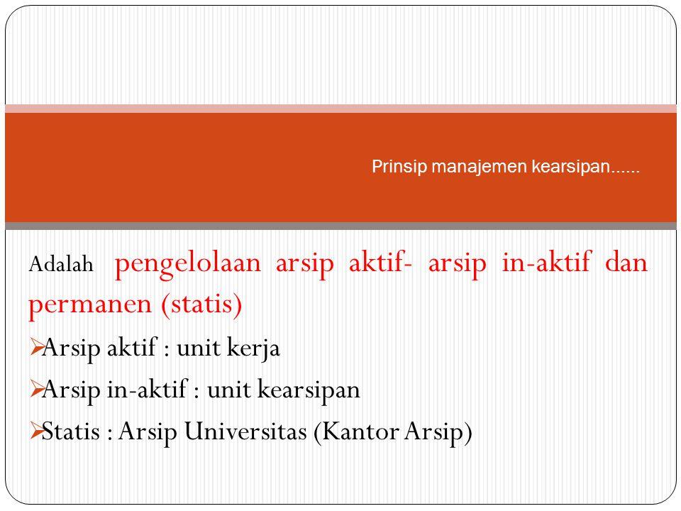 Prinsip manajemen kearsipan......