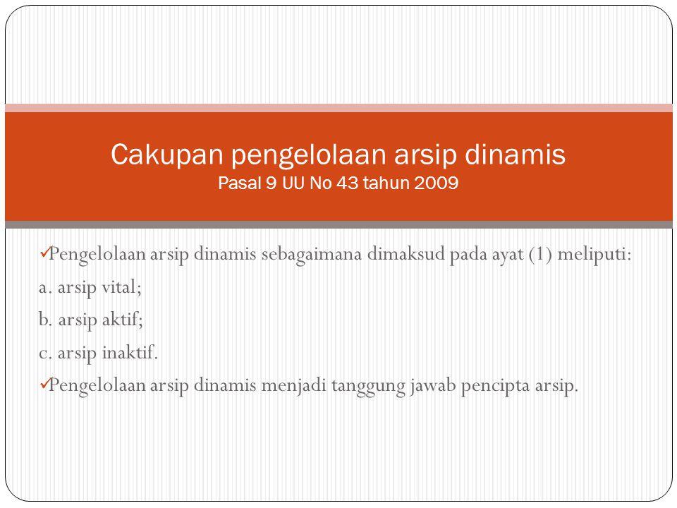 Cakupan pengelolaan arsip dinamis Pasal 9 UU No 43 tahun 2009