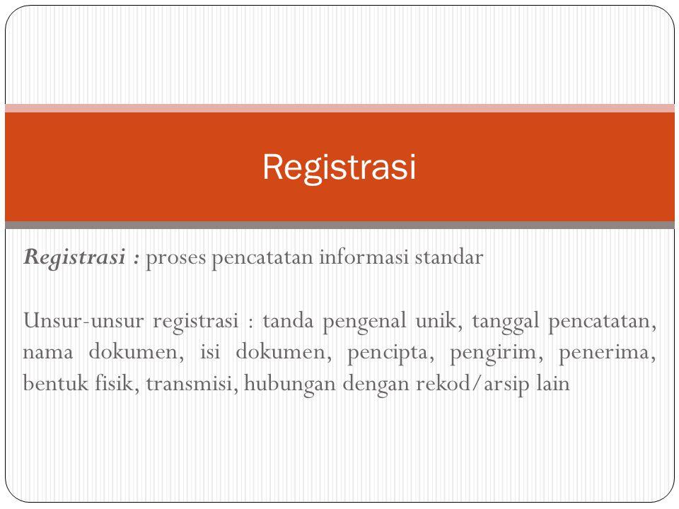 Registrasi Registrasi : proses pencatatan informasi standar