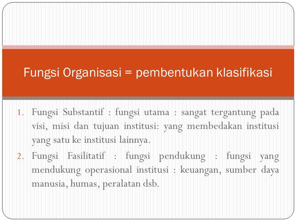 Fungsi Organisasi = pembentukan klasifikasi
