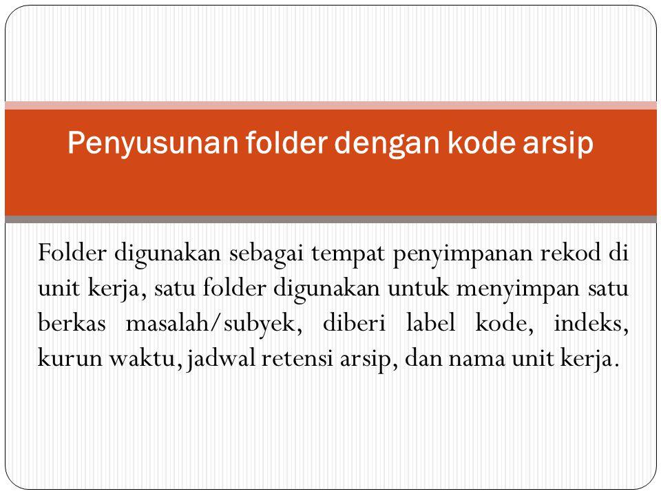 Penyusunan folder dengan kode arsip