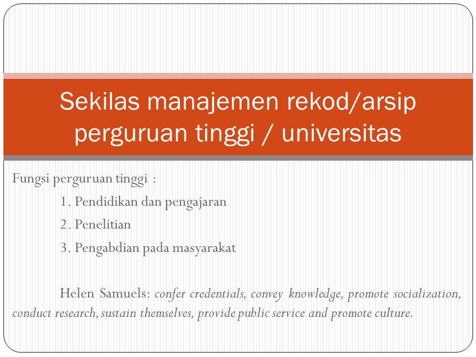 Sekilas manajemen rekod/arsip perguruan tinggi / universitas