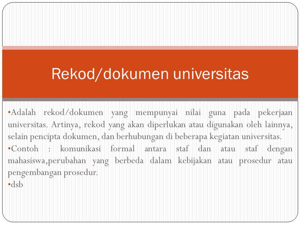 Rekod/dokumen universitas