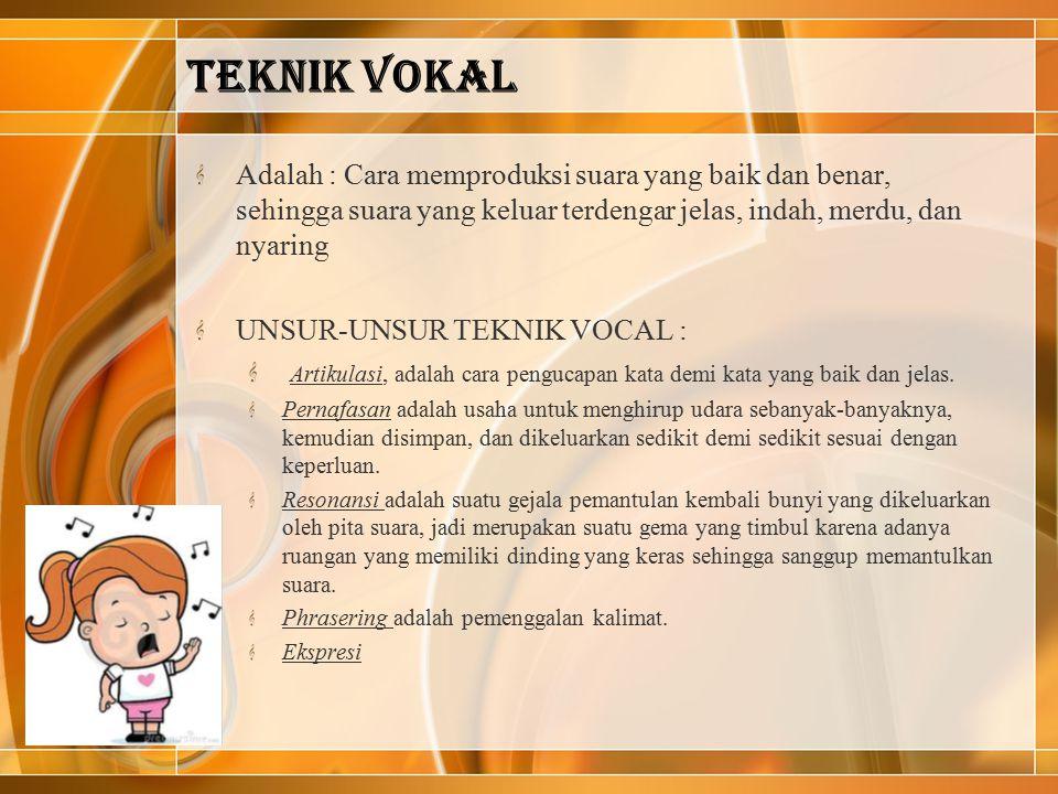 TEKNIK VOKAL Adalah : Cara memproduksi suara yang baik dan benar, sehingga suara yang keluar terdengar jelas, indah, merdu, dan nyaring.