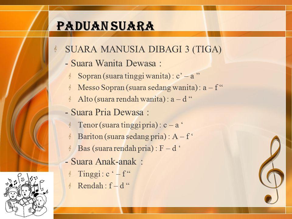 PADUAN SUARA SUARA MANUSIA DIBAGI 3 (TIGA) - Suara Wanita Dewasa :